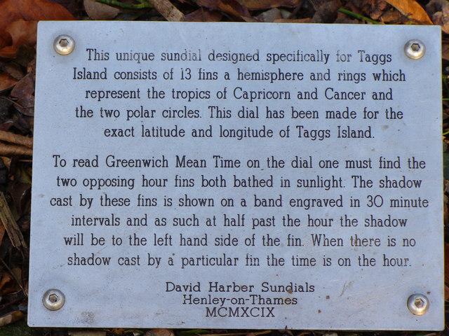 Tagg's Island Sundial Plaque