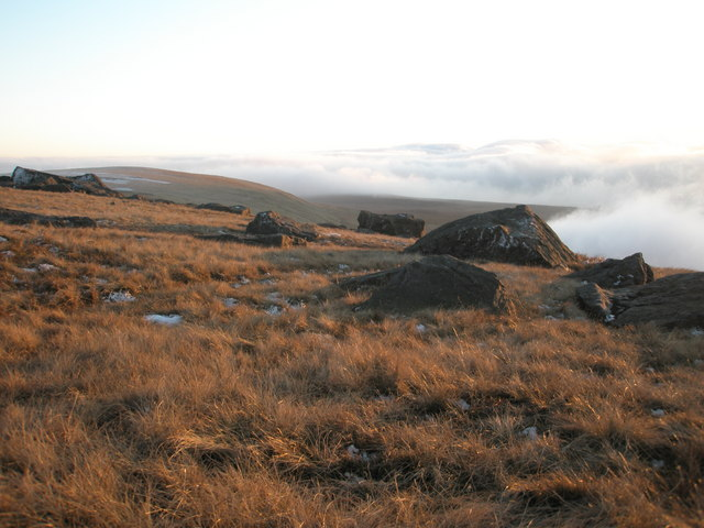 Rocks below the summit of Great Whernside