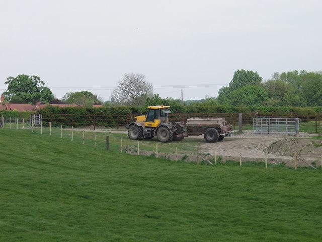 Fertiliser spreading at Pentre Farm