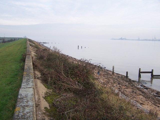 Sea wall and beach