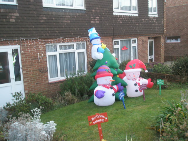 Festive inflatables in Fortunes Way