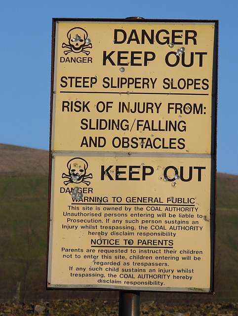 Warning sign for a colliery tip near Manmoel