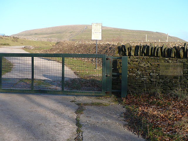 Entrance to colliery tip near Manmoel