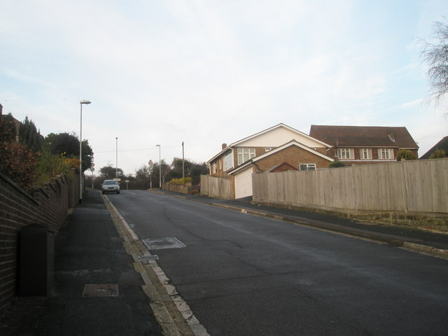 Steep incline in Woodfield Road