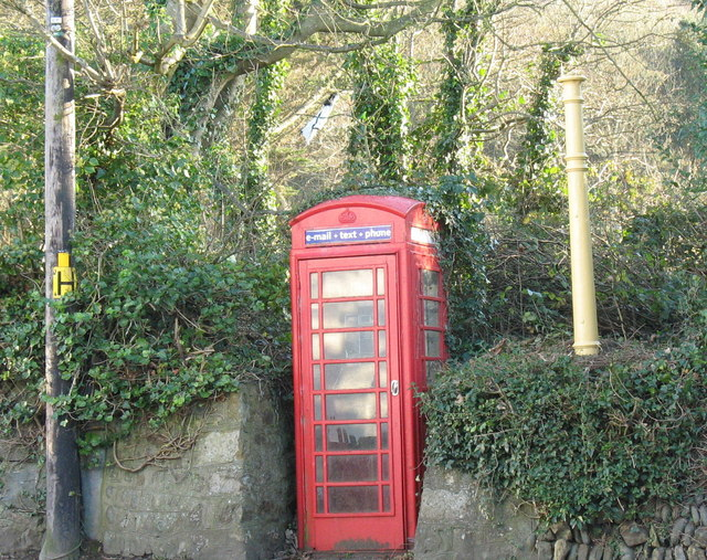Old fashioned telephone box in the centre of Llanengan village