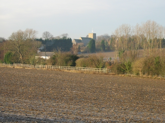 View across the fields to St Mary's church, Eastry