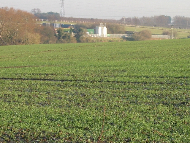 View across the fields to a sewage works