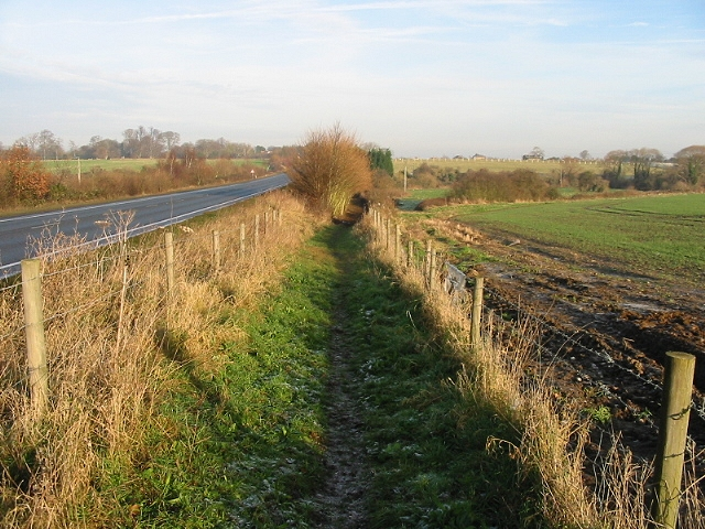 View along bridleway on E side of A256