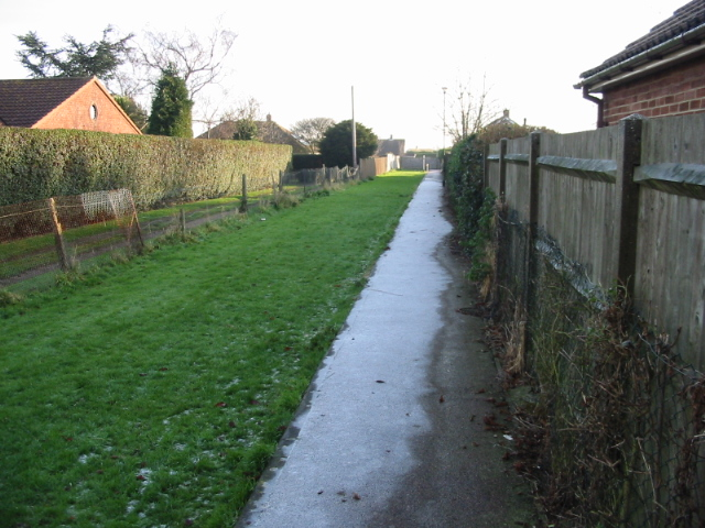 Frosted footpath to Whitfield recreation ground