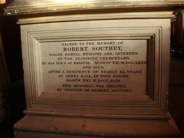 St Kentigern's Parish Church, Crosthwaite, Keswick, Memorial to Robert Southey