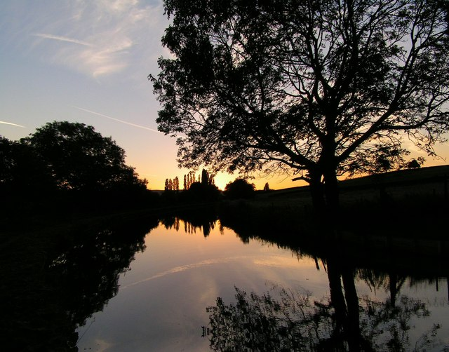 View of a calm late summer evening on the canal, Crossflatts