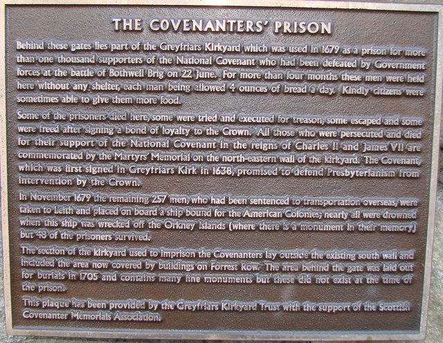 The Scottish Covenanters Plaque, Greyfriars Church Yard
