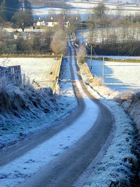 Frost Covered Road at Old Cluden