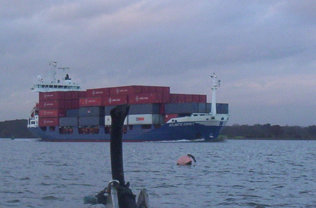 Container ship on River Orwell