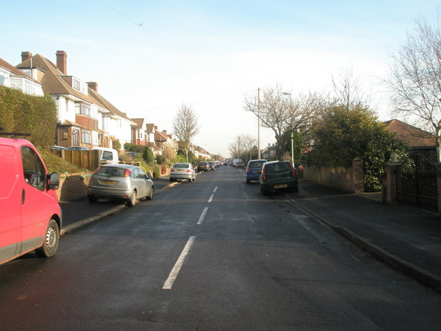 Looking eastwards along Woodfield  Road.