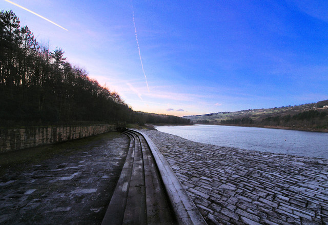 More Hall reservoir over spill weir