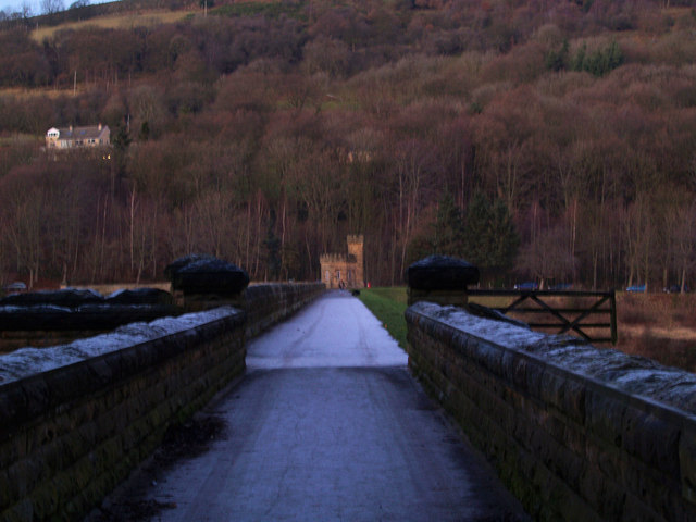 The footpath along the top of More Hall Reservoir Dam