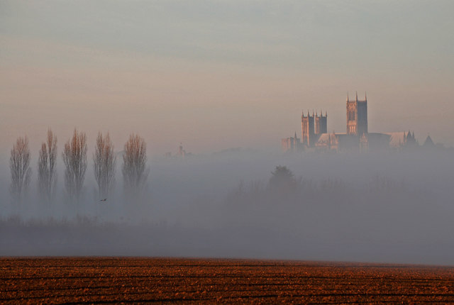 Lincoln Cathedral floating above the mist