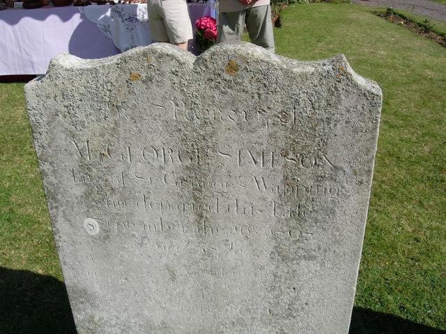 Gravestone of George Simpson, 1750-1808, first husband to Eliz Samuel.