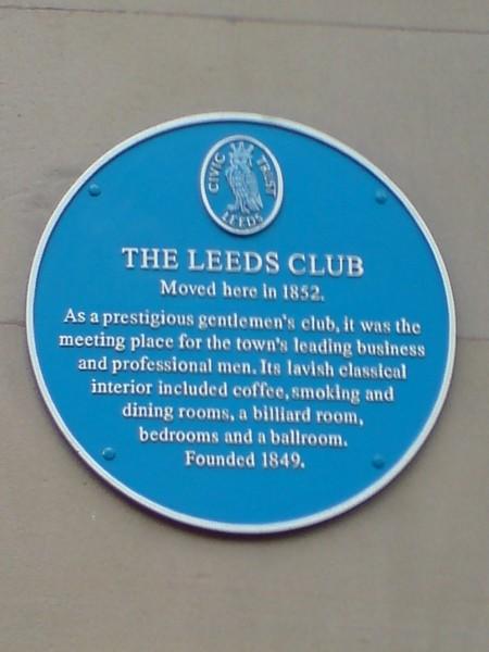 Blue Plaque, The Leeds Club, Albion Place