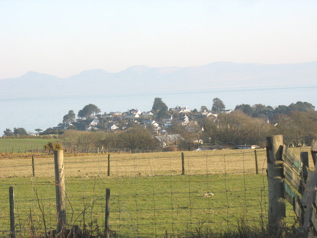 View back over farmland towards the village of Abersoch
