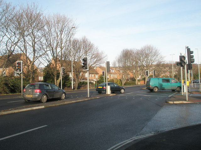 Traffic light at junction of A2030 and Fitzherbert Road.