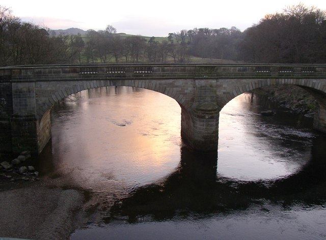 The Lune Bridge at sunset, Crook o' Lune, Caton