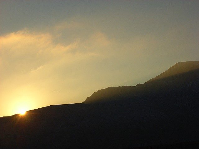 Sun disappearing behind Blencathra