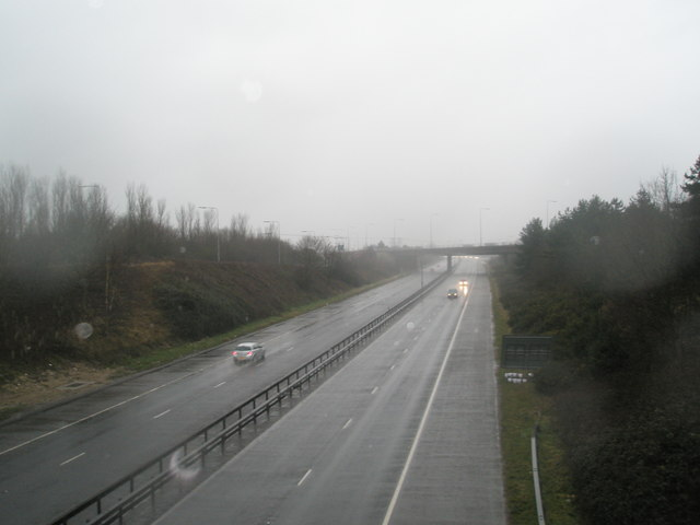 Looking south west down the A 27 from the Broadmarsh Bridge