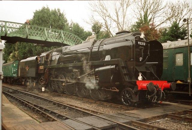 Class 9F Locomotive at Alresford Station.