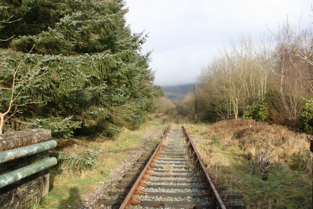 Overgrown trackbed through old Llan Ffestiniog Station