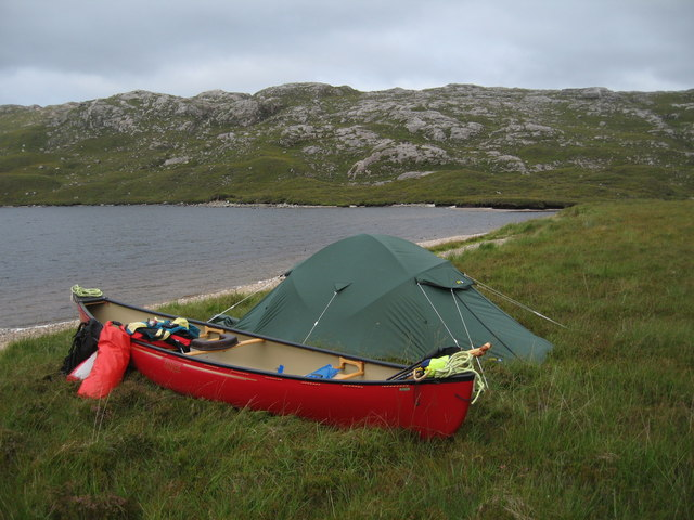 Canoe camp at South end of Loch Suaineabhal