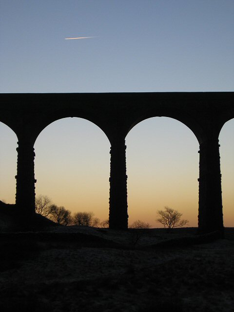 Sunset through the arches, Ribblehead viaduct