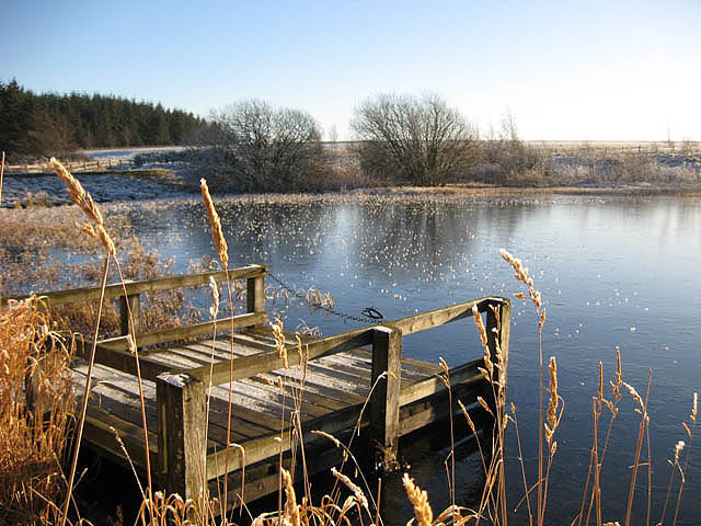 A small jetty at Lindean Reservoir