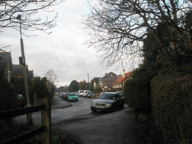 Corner of Grove Road by footpath