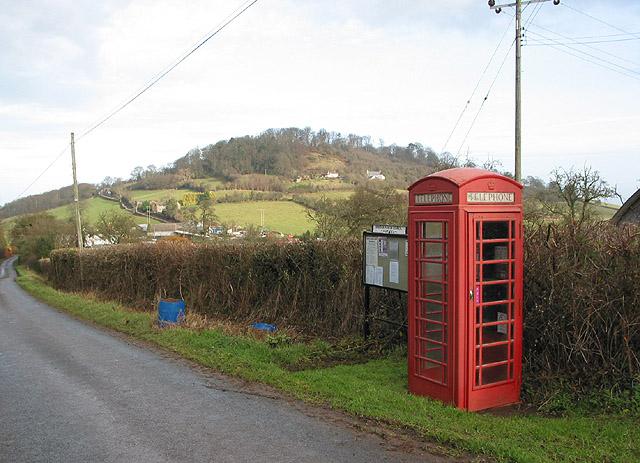 Phone box at Dinedor Cross