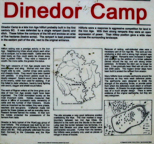 Information board at Dinedor Camp
