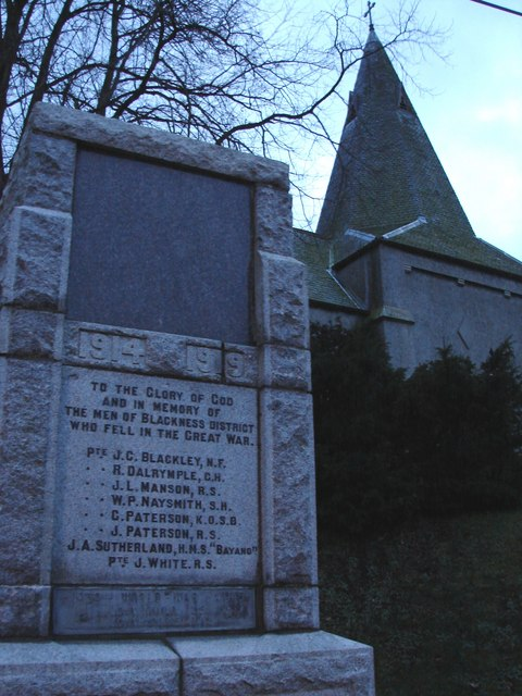 Blackness War Memorial and Mission Church Spire