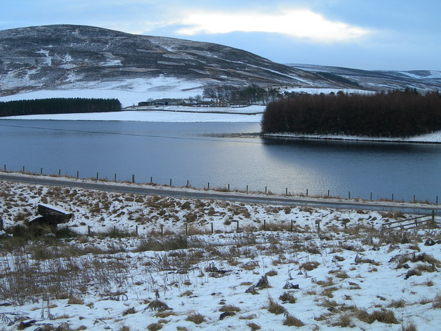 Whiteadder reservoir in the snow.