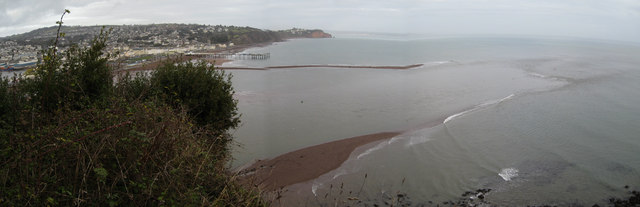 Teignmouth Harbour entrance at spring low tide