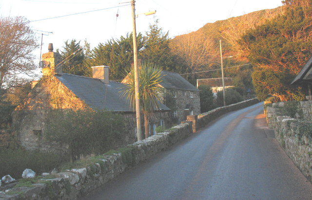 Cottages opposite the lych gate of St Cian's Church, Llangian