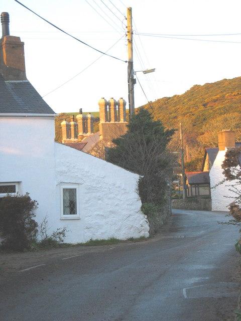 Decorative chimneys beyond the former New Inn