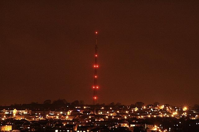 Emley Moor mast at night