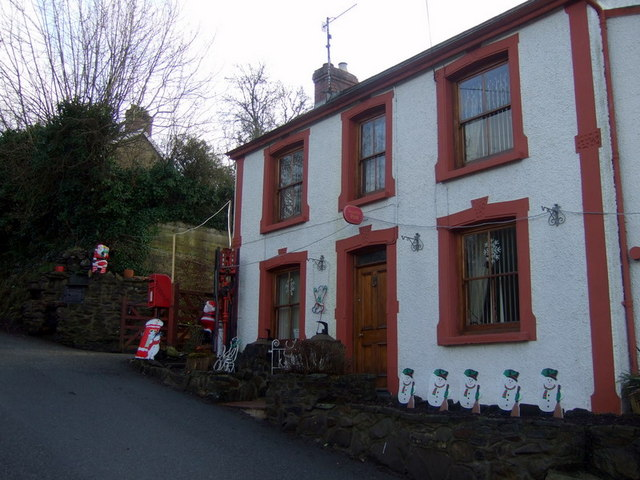 Post office, Llanychaer, with santas and snowmen