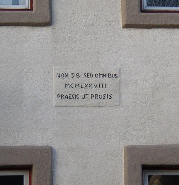 Inscription on building, High Road, Halton