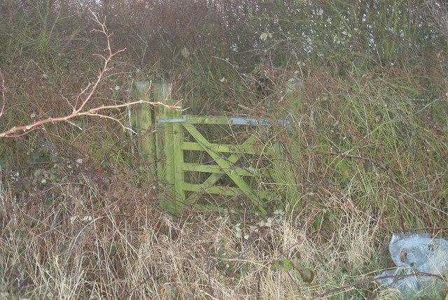 Disused, overgrown footpath gate
