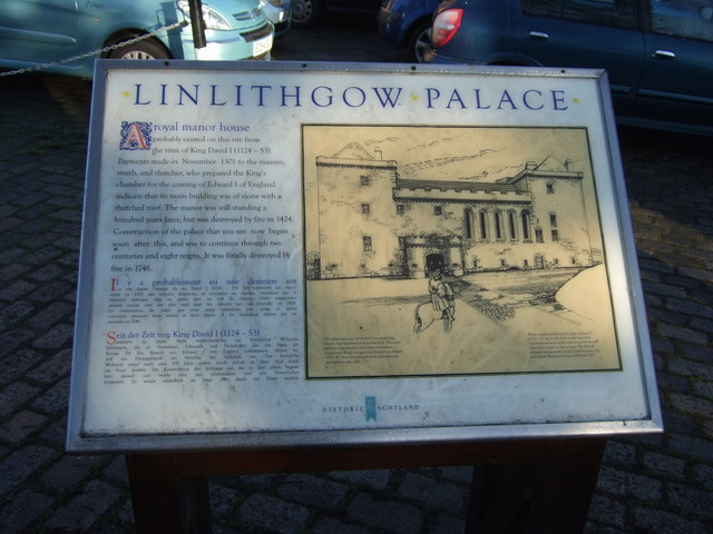 Linlithgow Palace, historic plaque