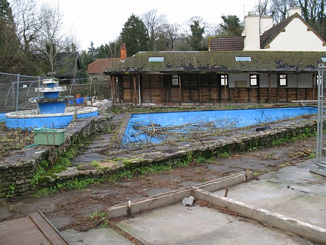The remains of Wookey Hole open air swimming pool