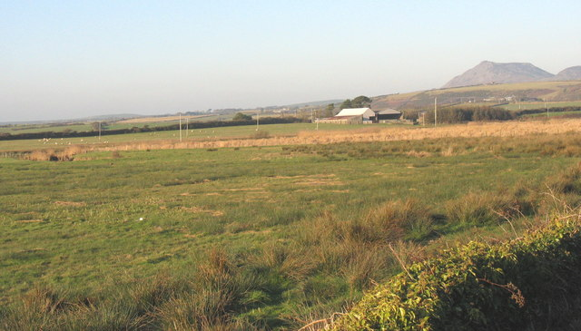 View across the flood plain of Afon Soch towards Pen-y-Bont Farm