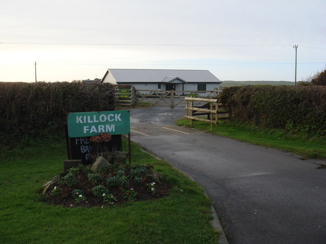 Entrance to Killock Farm and farm shop off A39